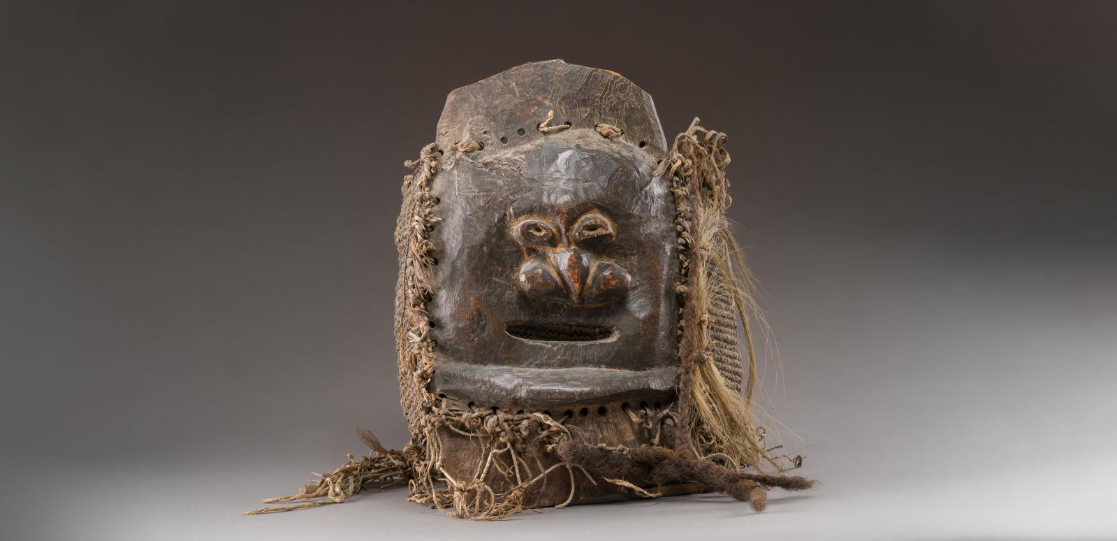 Melanesia, New Caledonia, southern style, Kanak people, 19th century. Mask depicting a human face (part of a mourner's costume), hard wood