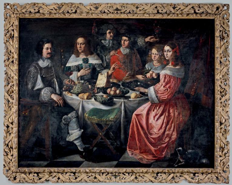 32219€ École franco-flamande, Portrait d'une famille prenant un repas, huile sur toile rentoilée, milieu du XVIIesiècle, 158x207,5cm