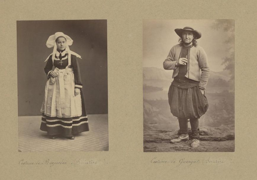252€ Bretagne, types, costumes de Rosporden, Guengat, mariés de Quimper, Quimperlé, vers 1870, quatre tirages albuminés, 15x10cm. Sall