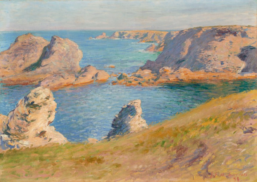 10000€ Jean Francis Auburtin (1866-1930), La Côte sauvage, Belle-Île-en-Mer, 1895, huile sur toile, 65x92cm. Drouot, 5octobre 2016.B