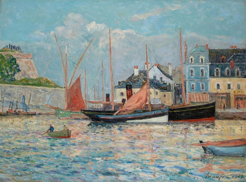 56100€ Maxime Maufra (1861-1918),Le Bassin à flots du port de Palais, Belle-Île-en-Mer, 1909, huile sur toile, 81x60,5cm. Drouot, 25