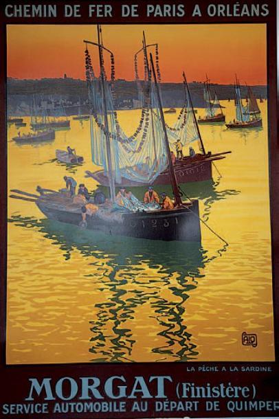 1000€ Charles Alo (1882-1969),Chemin de fer de Paris à Orléans, Morgat…, affiche entoilée, édition 1928, imp. Lucien Serre &Cie, 105