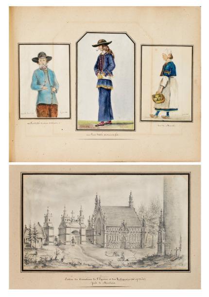 6875€ Félix Marant-Boissauveur,Deux-cent-neuf croquis, dessins, etc., faits d'après nature en Bretagne, de l'année 1833 à l'année 1844