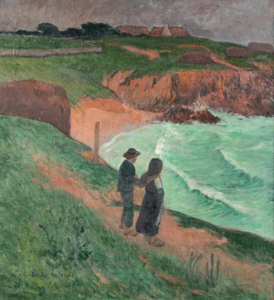 124000€ Henry Moret (1856-1913), Couple regardant la mer,côte de Clohars-Carnoët, 1894, huile sur toile, 53x48,5cm. Drouot, 14octobr