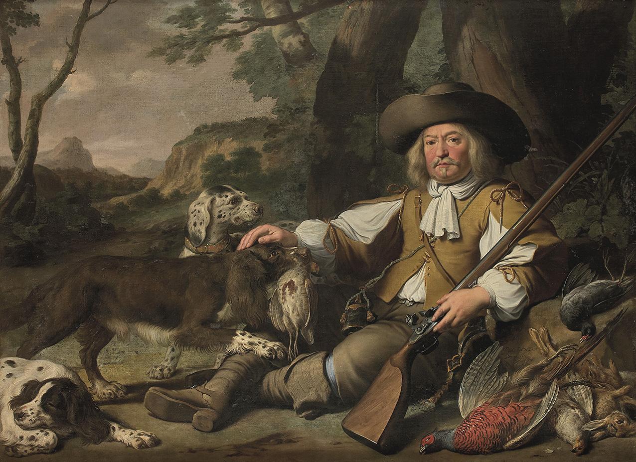Jean Daret (1614-1668) et Nicasius Bernaerts (1620-1678), Portrait de chasseur assisen compagnie de ses chiens (détail), 1661, huile sur t