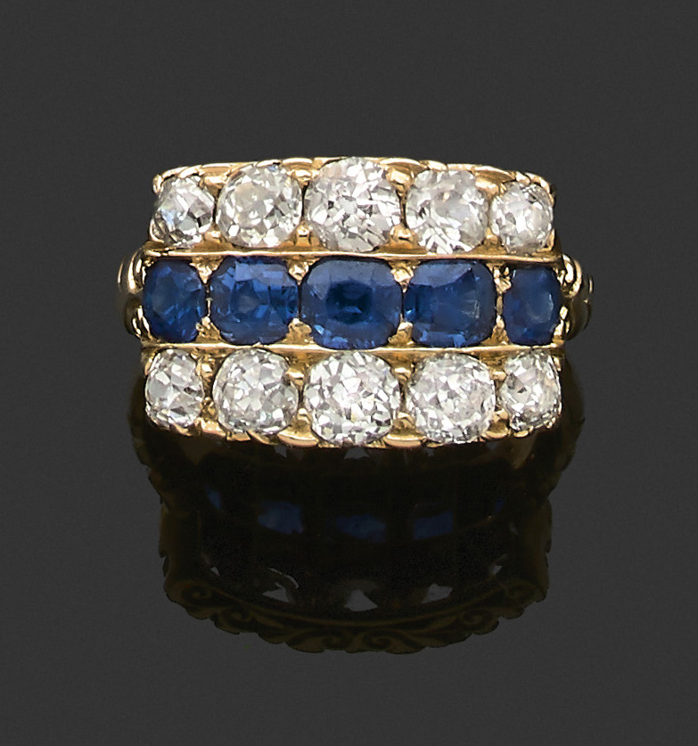 €4,160Diamond ring, late 19th century, sapphires surrounded by two rows of diamonds, 18k gold.Neuilly-sur-Seine, June 11, 2020. Aguttes au