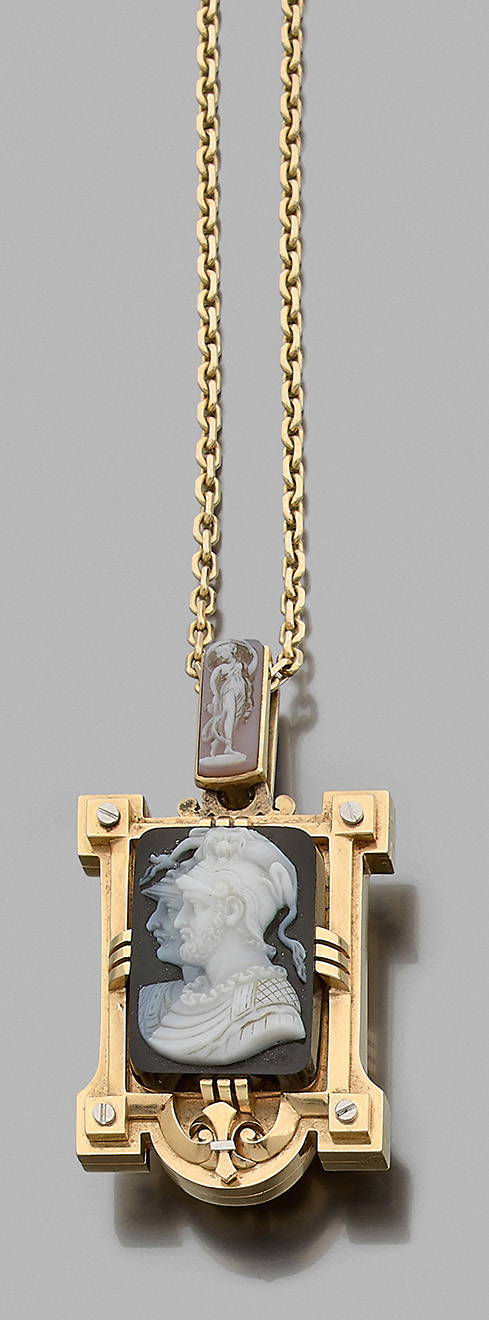 €2,413Articulated necklace in 18k yellow gold, 19th century, with rectangular locket.Paris, Drouot, June 16, 2020. Beaussant Lefèvre aucti