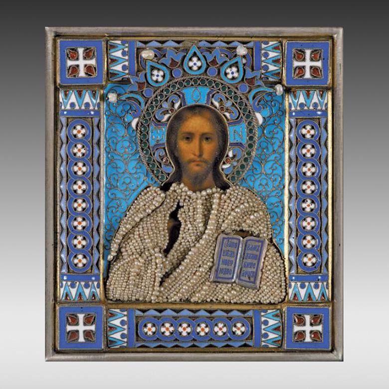 20625€ Le Christ Pantocrator, vers 1890, oklad en argent et émail, riza en perles, maître-orfèvre Ovchinnikov, privilège impérial, titre