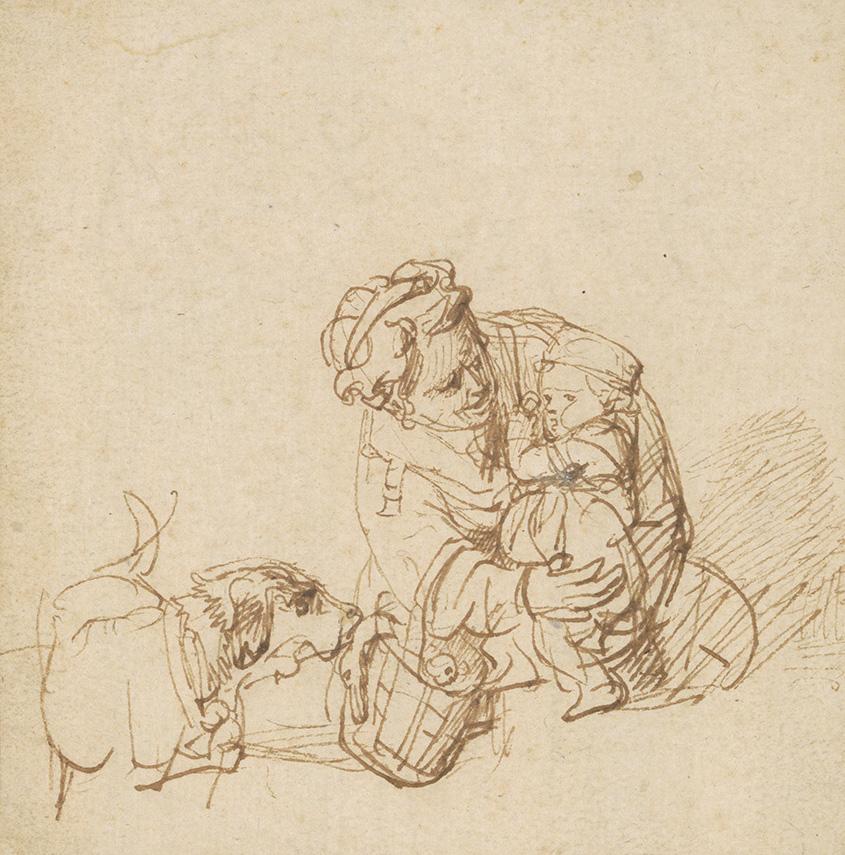Rembrandt Harmenszoon Van Rijn, aka Rembrandt (1606-1669), Femme rassurant un enfant effrayé par un chien (Woman Reassuring a Child Fright