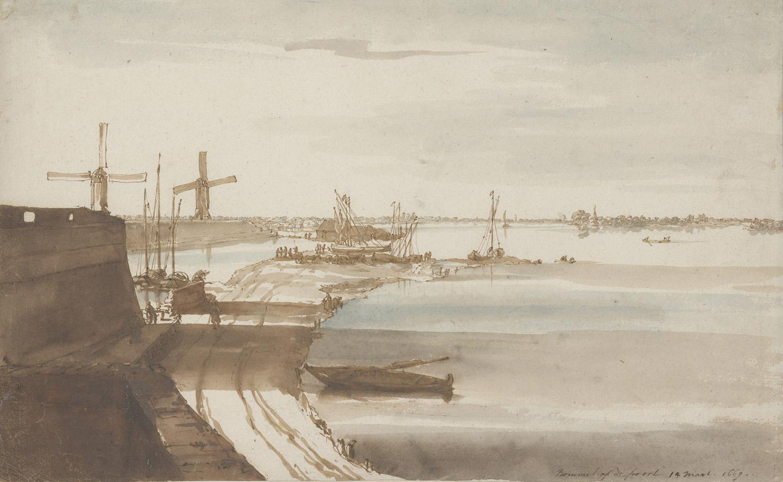 Constantijn Huygens (1596-1687), Vue panoramique du Waal à Zaltbommel, 1669, pen and brown ink, watercolor, 20.8 x 33.1 cm (7.87 x 13.3 in