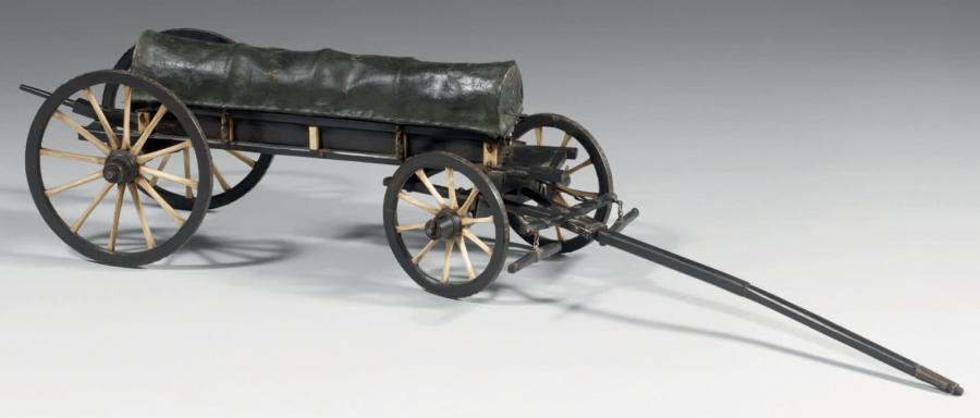 1611€ Époque premier Empire, maquette de ponton d'une voiture du service de santé de l'armée du Rhin utilisée par le chirurgien Percy en