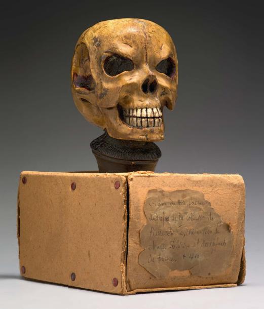 3443€ France, XVIIIesiècle, modèle d'anatomie du crâne attribué à l'ancienne collection de Pierre Dionis, chirurgien de LouisXIV, bois