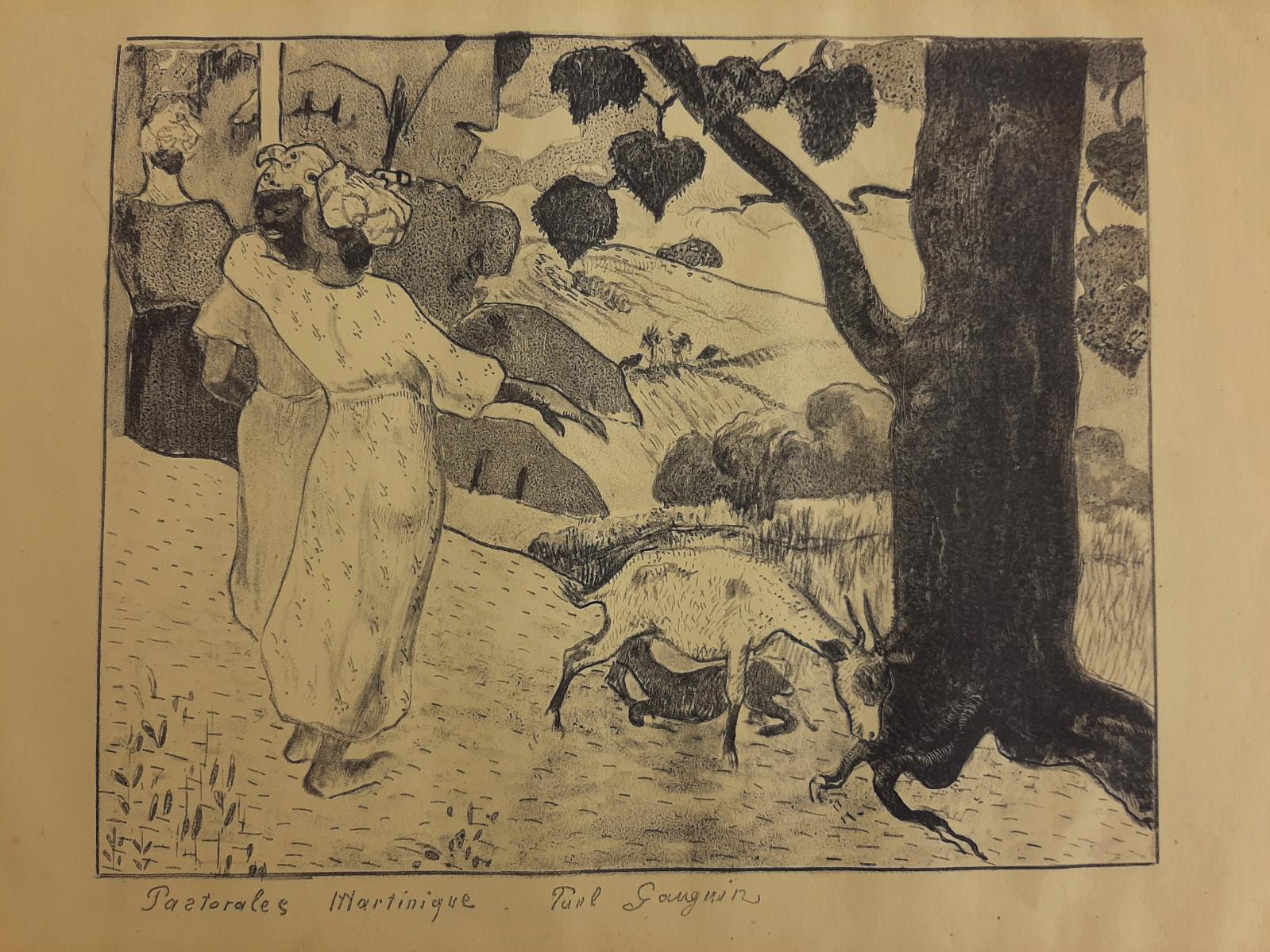 Paul Gauguin, Pastorales Martinique (Pastoral in Martinique), zincograph on yellow paper 1889, 31.5 x 49 cm (12.4 x 19.3 in).