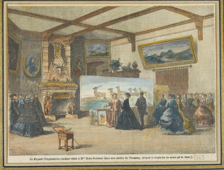 Auguste Victor Deroy (1825-1906) and Lix Frédéric Théodore (1830-1897), Sa Majesté l'Impératrice rendant visite à Mlle Rosa Bonheur dans s