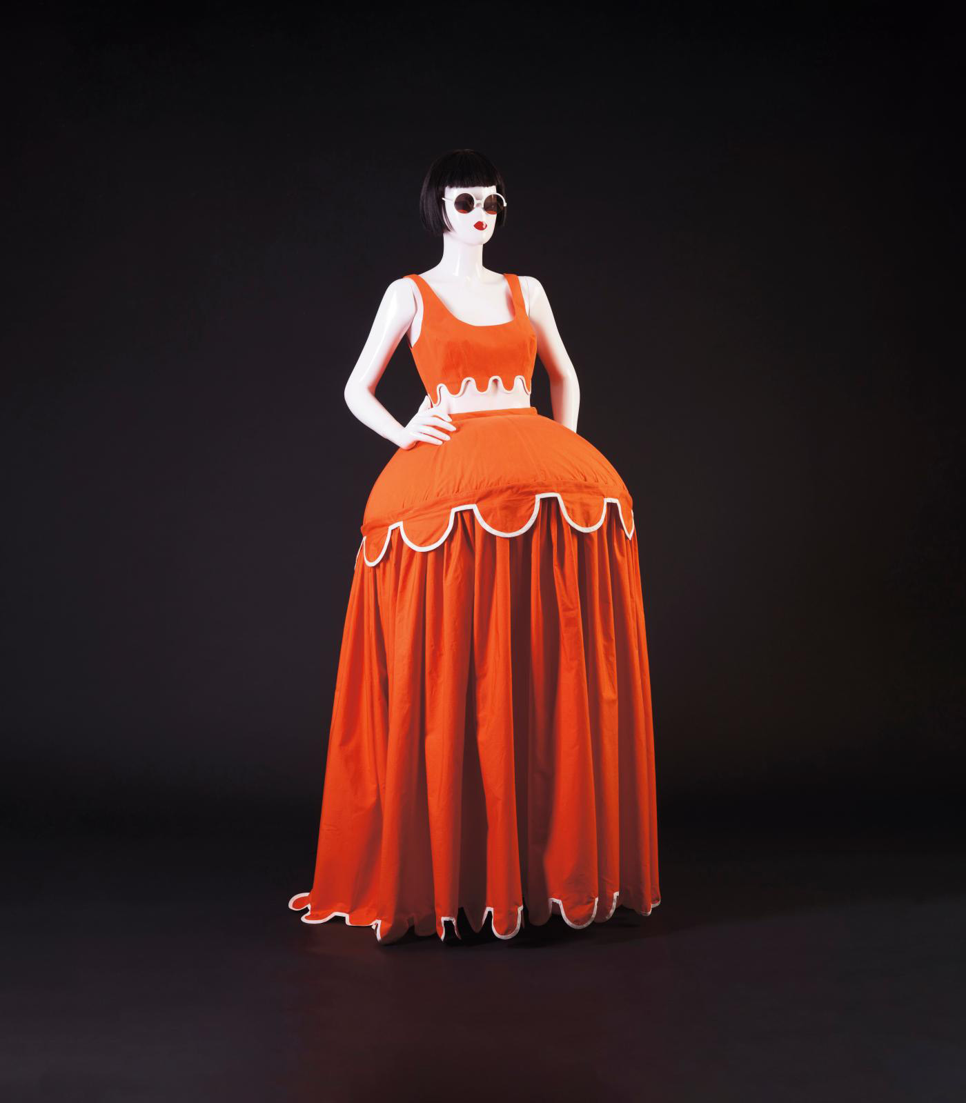 "Chantal Thomass, spring-summer 1991/1992 ""Carte de France"" show, ""crinoline parasol"" skirt and orange poplin cotton brassiere with white t"