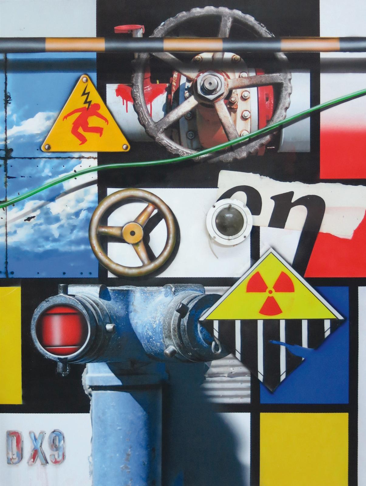 Volants / Haute tension, 2017, technique mixte sur toile, 146x114cm.