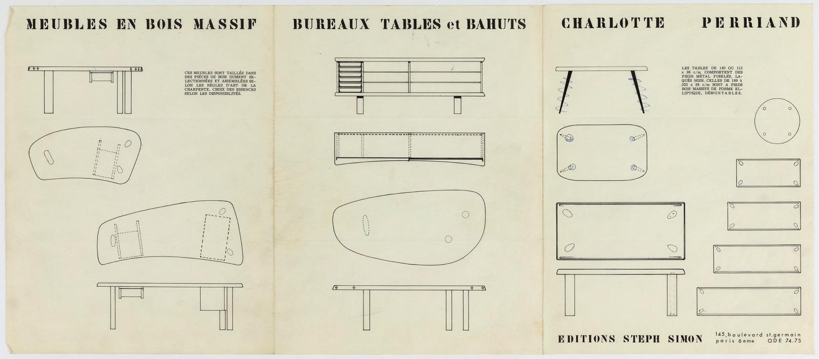 Dépliant mobilier Charlotte Perriand, édition Steph Simon, vers 1965.