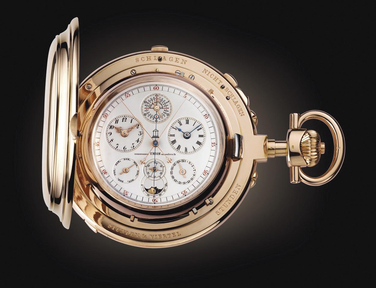 Montre de poche Universelle, 1899, boîte en or rose 18ct, cadran signé «Uhrenfabrik Union Glasshütte» calibre 22lignes, calendrier perpé
