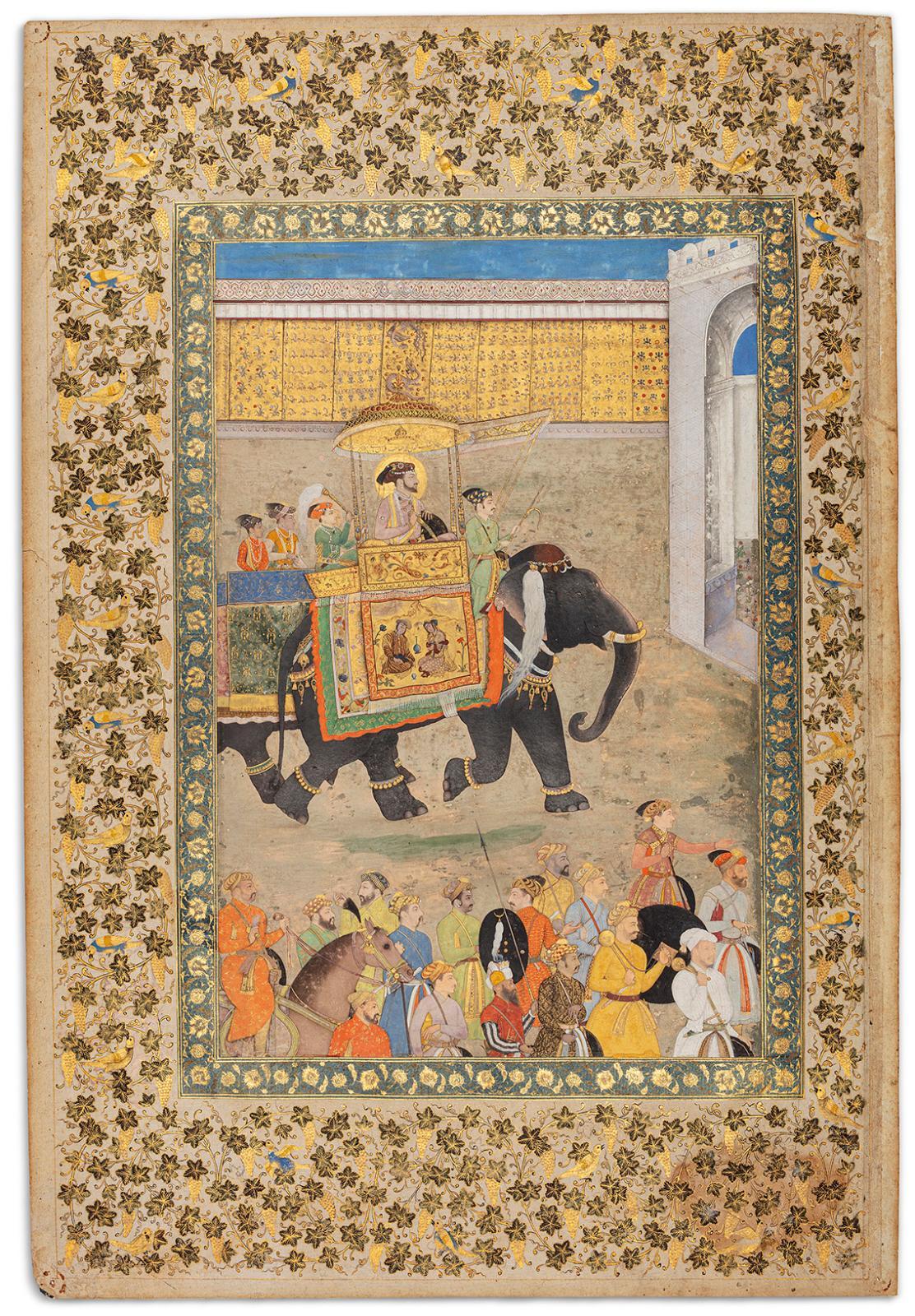 Inde, art moghol, 1630-1631, Illustration de la vie de shâh Jahân entrant dans son palais de Burhanpur, probablement destinée au Windsor P