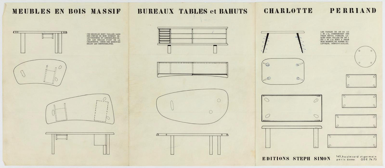 Charlotte Perriand furniture brochure published by Steph Simon, c. 1965.