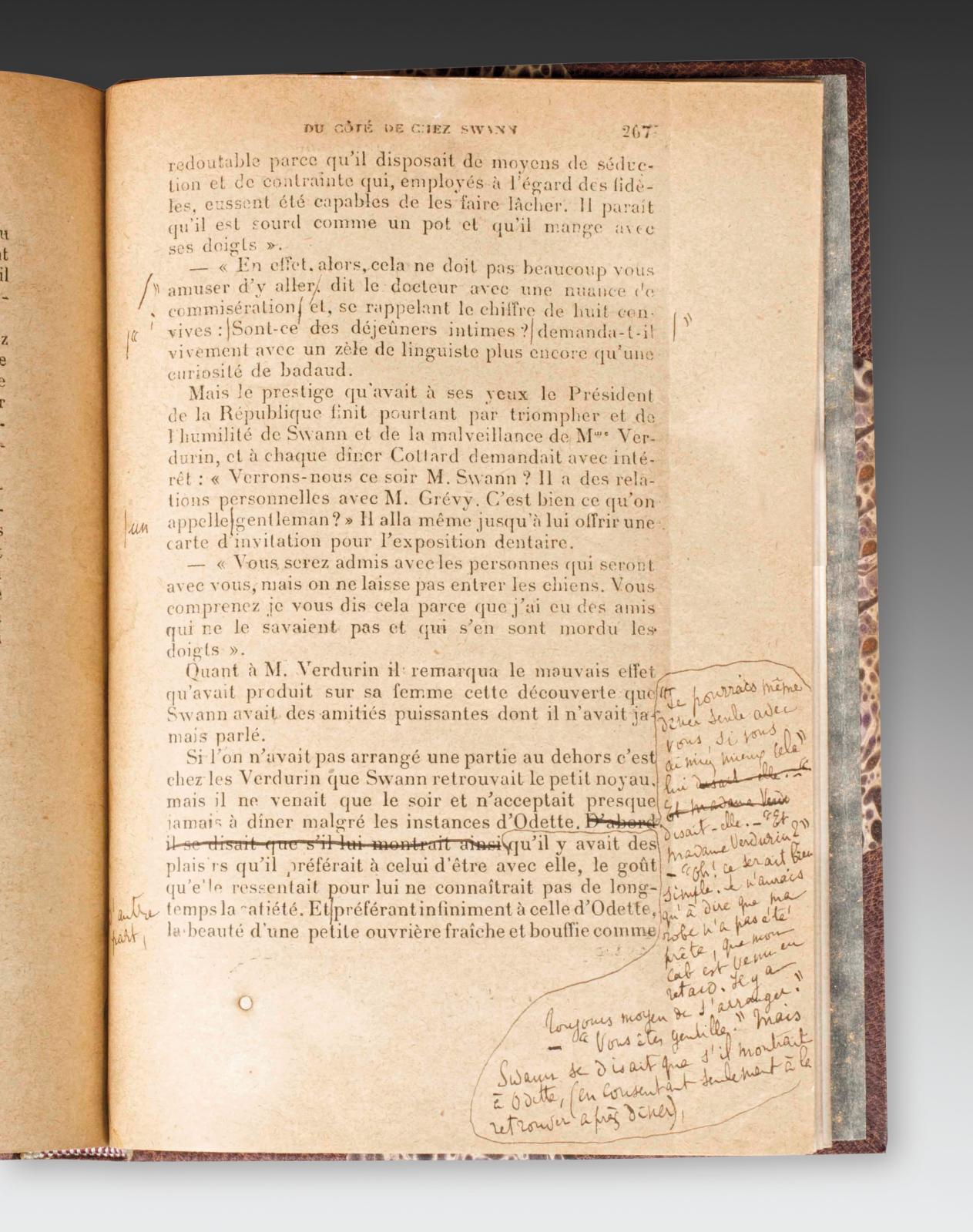 Marcel Proust, jeu d'épreuves complet de Du côté de chez Swann (extrait). Librairie Vignes.