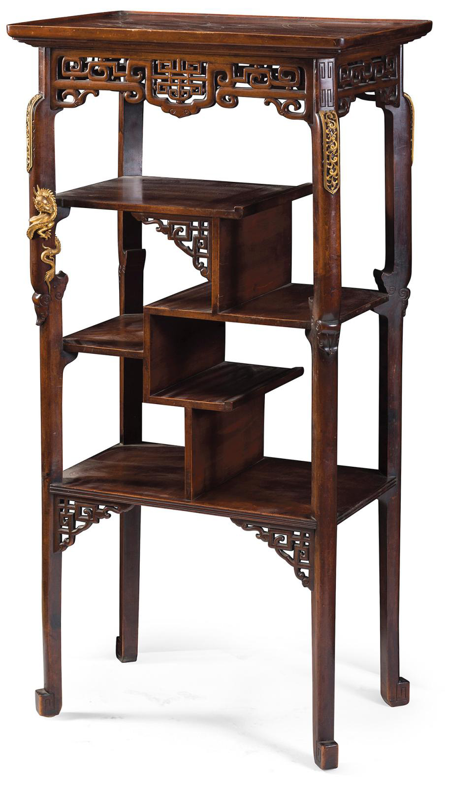 Carved, molded, patinated, openwork high stand in wood, with stylized plant and foliage decoration, console base joined together with unst