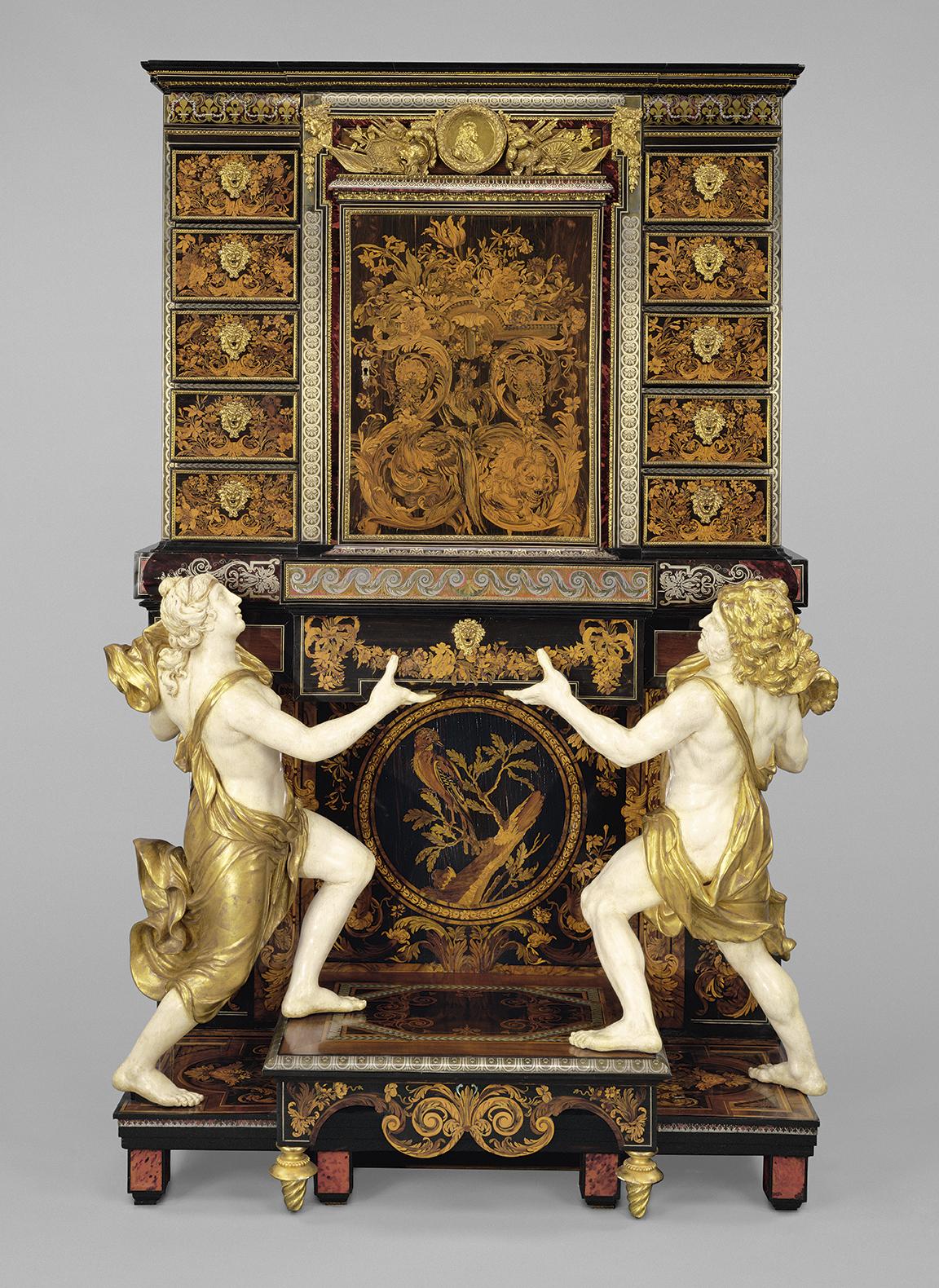 André Charles Boulle (attribué à), Cabinet, vers 1675-1680, chêne, ébène, marqueterie de bois,écaille de tortue, corne, ivoire, bronze do
