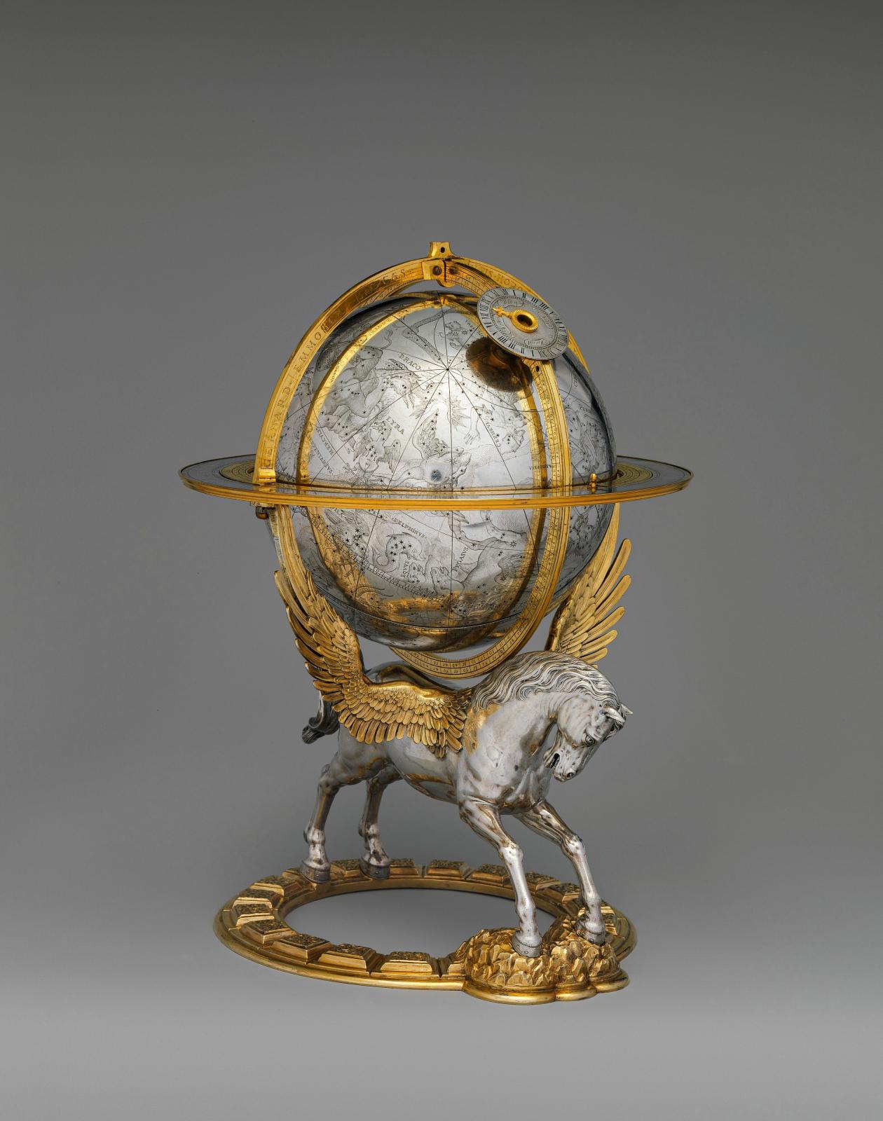 Gerhard Emmoser, Globe céleste à mécanisme,1579, Vienne (Autriche), argent partiellement doré, laiton, acier, 27,3x 20,3x19,1cm,New