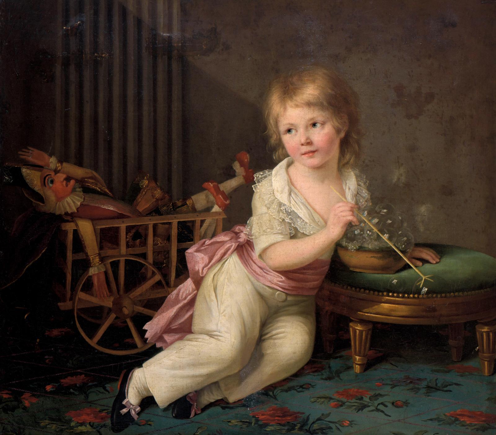 Marie-Élisabeth Lemoine (1761-1811), Portrait de petit garçon avec une charrette de jeux, jouant à faire des bulles, 1791, huile sur toile