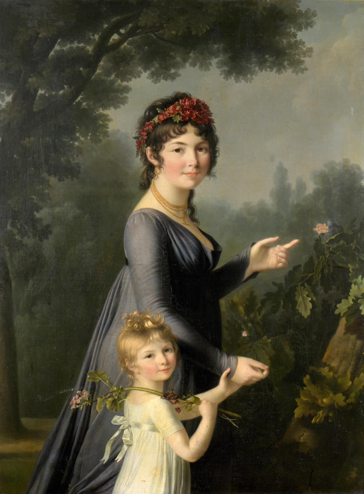 Marie-Victoire Lemoine (1754-1820), Portrait présumé de Marie-Geneviève Lemoine avec sa fille Aglaé Deluchi, dans un parc, huile sur toile