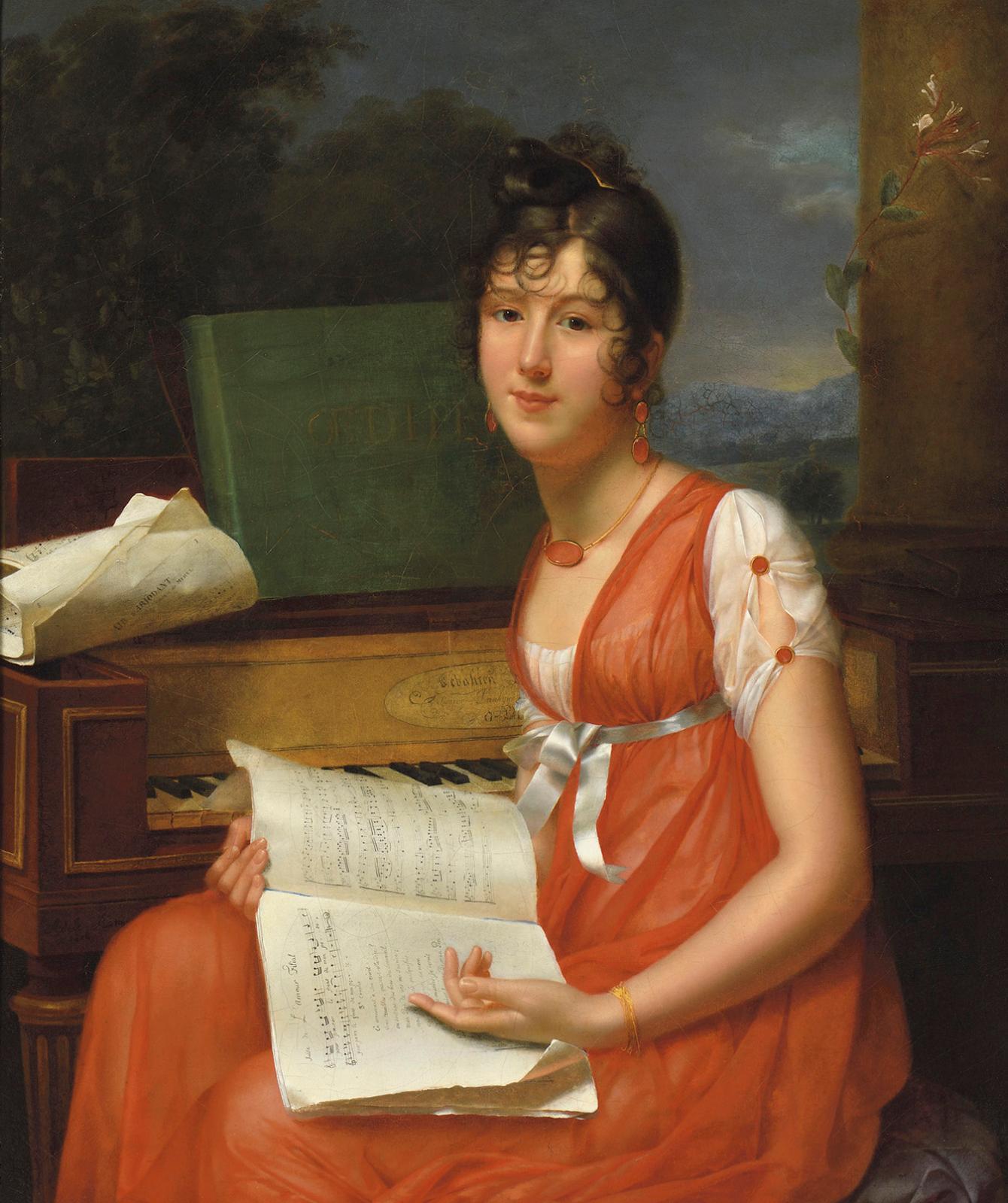 Adèle Romany (1769-1846), Portrait d'une jeune personne près d'un piano tenant un cahierde musique (Mlle Gillet Ducoudray),huile sur toi