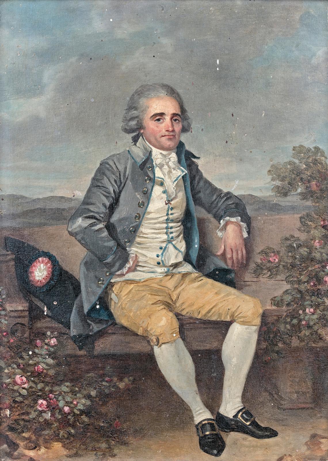 Marguerite Gérard (1761-1837), Portrait d'homme assis sur une banquette, huile sur panneau de noyer, d'une paire avec Portraits présumés d