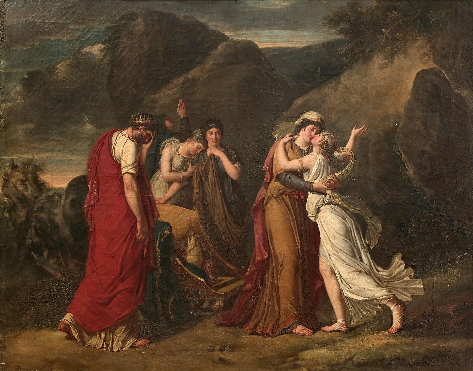 Marie-Guillemine Benoist (1728-1826),Les Adieux de Psyché à sa famille, 1791,huile sur toile, 111x145cm (détail). Online, 4 juillet 20