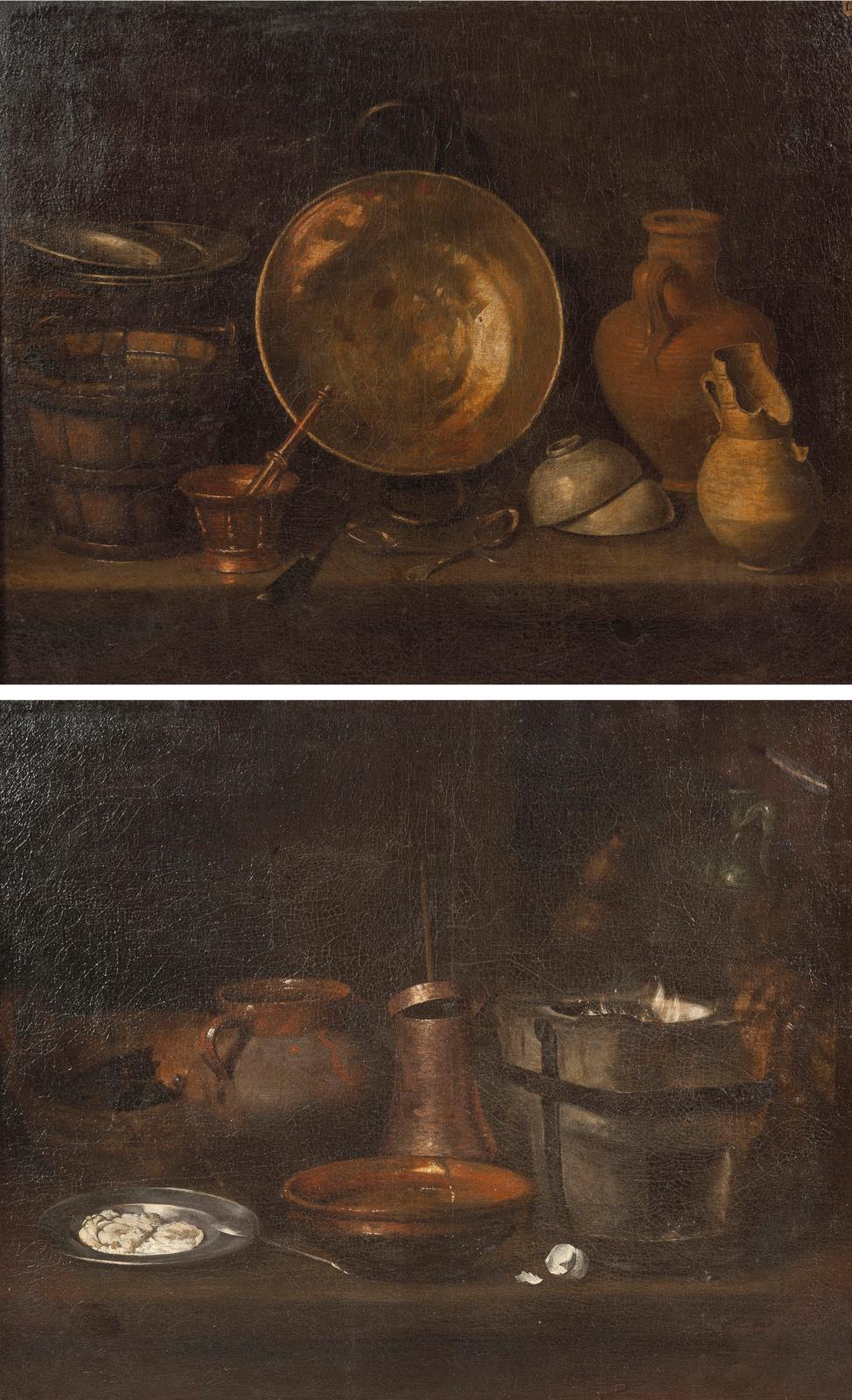 École de Séville du XVIIesiècle. Nature morte à la bassine de cuivre, seau en bois ferré, mortier et son pilon, bols, cruche cassée et ja