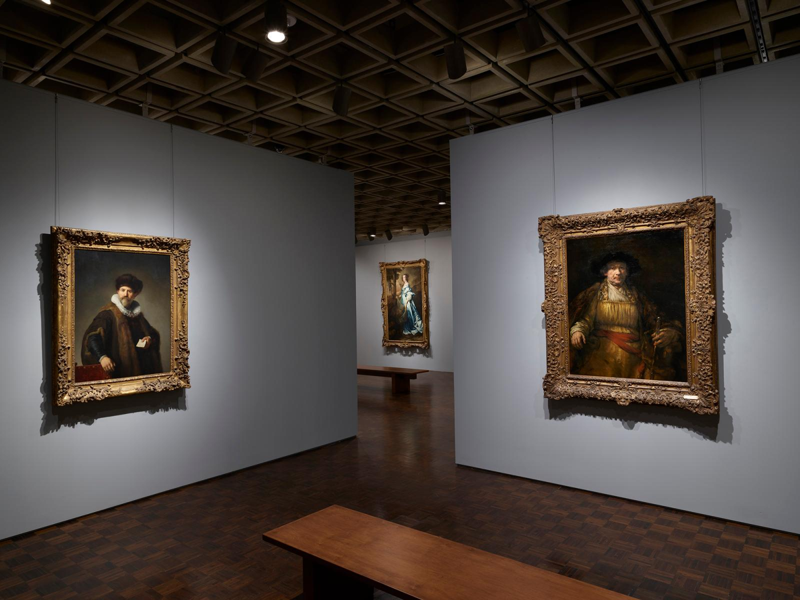In this second-floor gallery, Rembrandt's Nicolaes Ruts (1631) (left) may be compared with the much later Self-Portrait (1658) (right).Ima