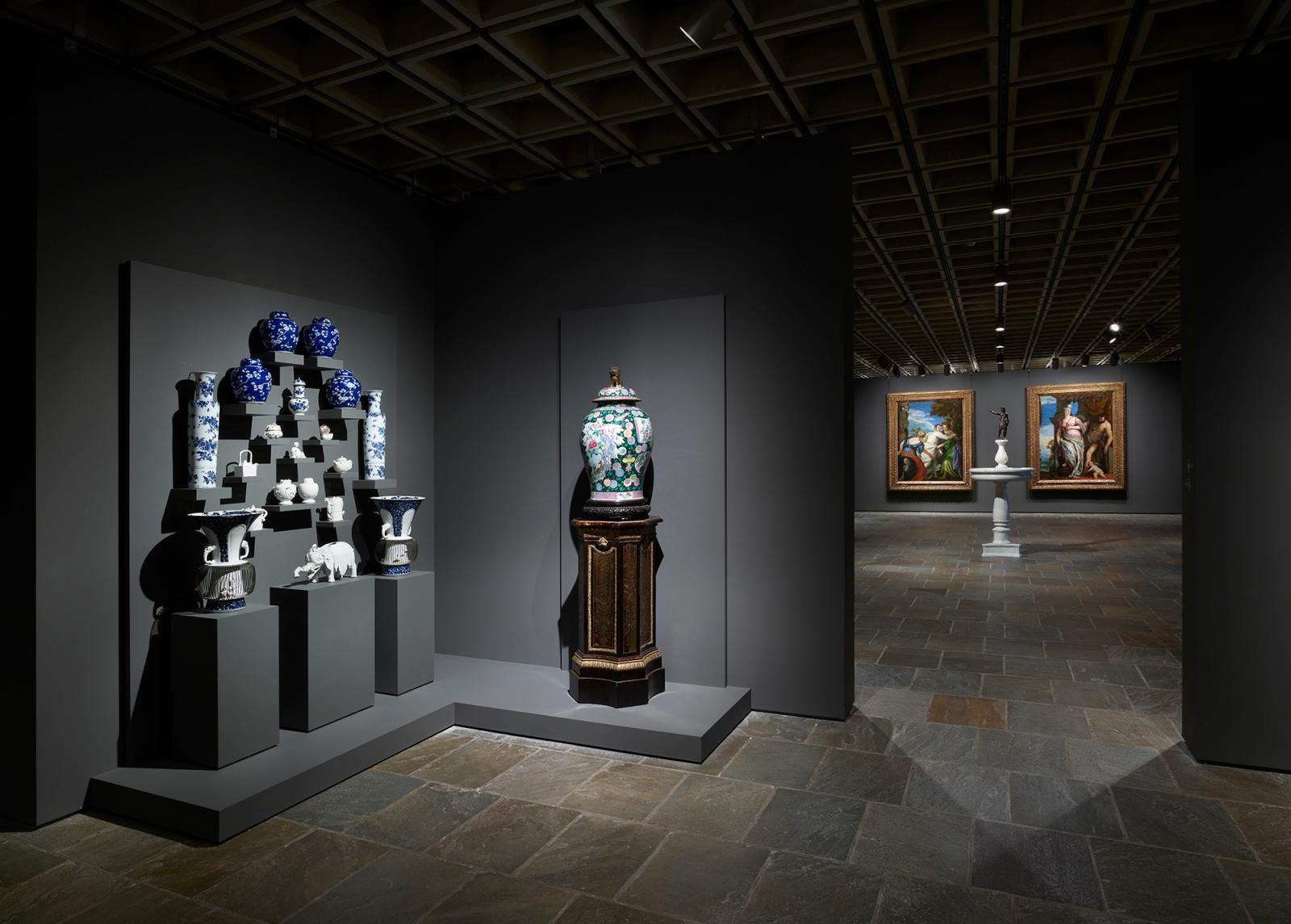 Room 10: A dramatic display of European and Asian porcelain (c. 1500–c. 1900) is featured in this Frick Madison room, reflecting deep cult