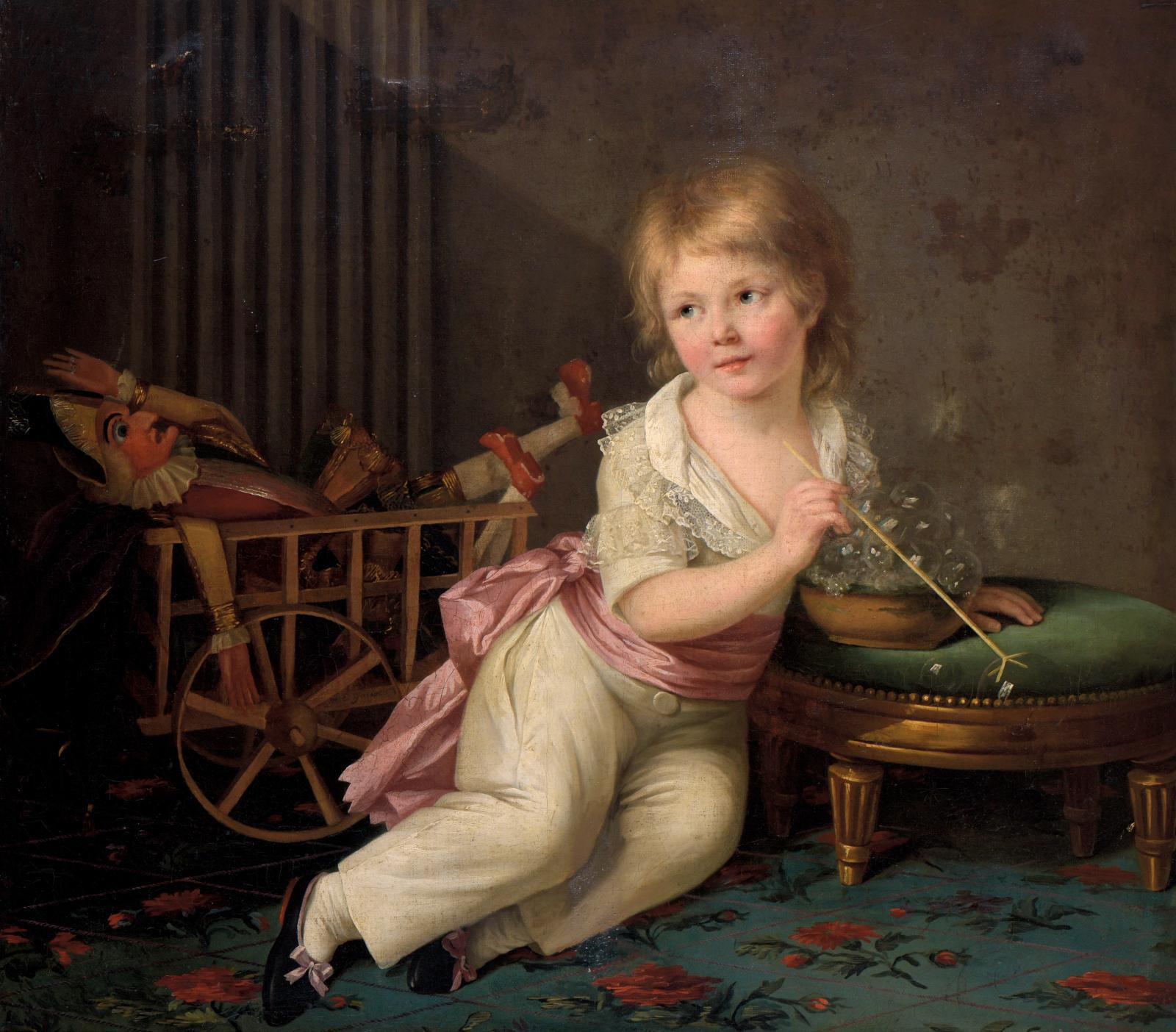 Marie-Élisabeth Lemoine (1761-1811), Portrait of a boy with a toy cart, blowing bubbles, 1791, oil on canvas, 80.5 x 90 cm (31.7 x 35.4 in