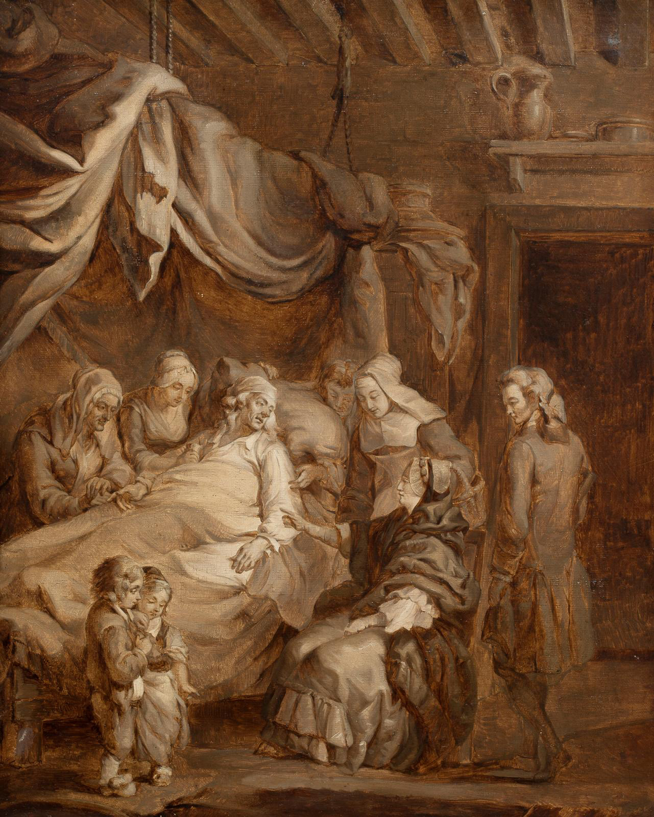 Constance Mayer (1774-1821), A Miserable Family, oil on canvas, 55.5 x 45.5 cm (21.8 x 17.9 in).Paris, Drouot, June 13, 2019. Aguttes auct