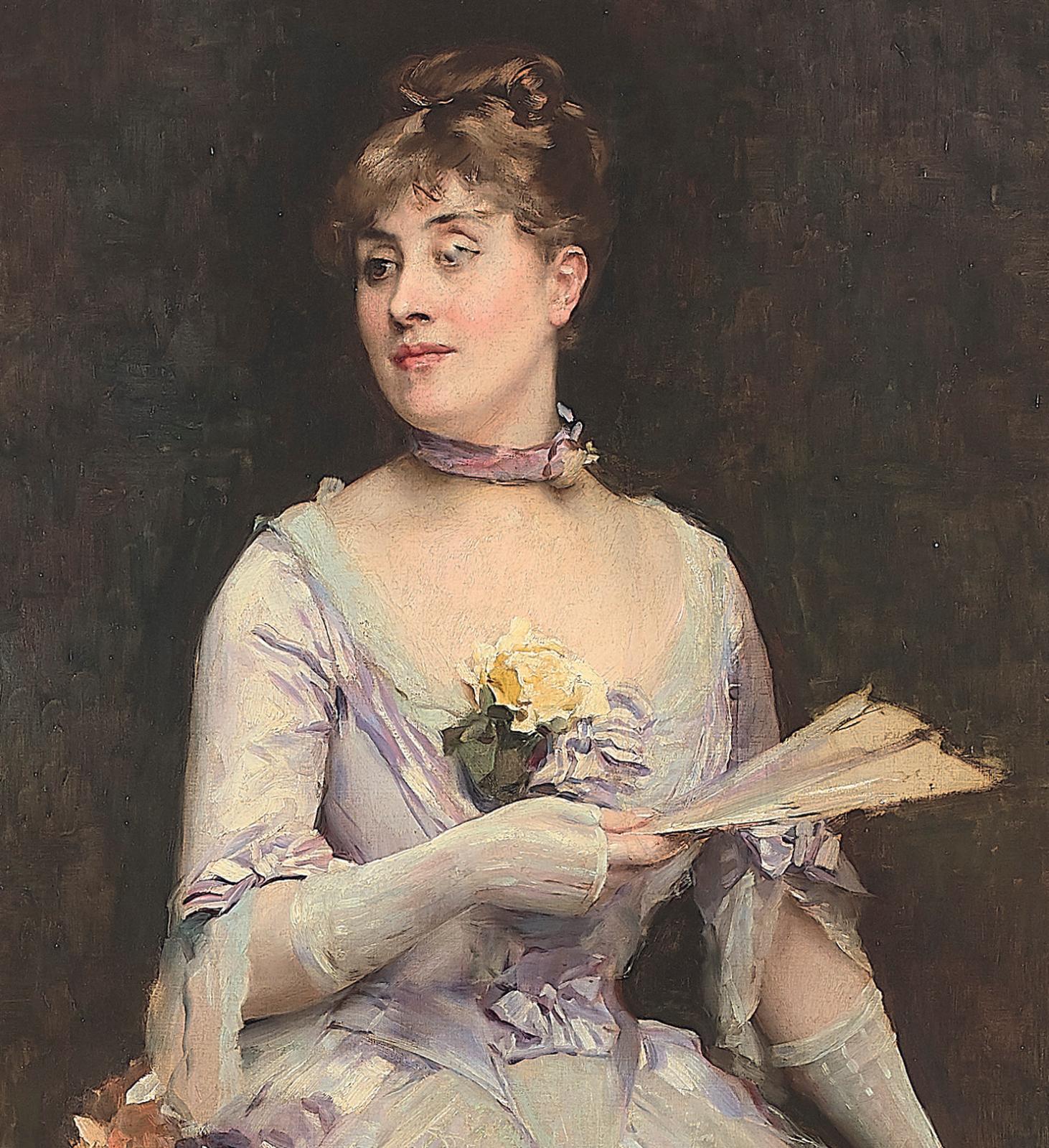 €65,000Raimundo de Madrazo y Garreta (1841–1920), detail of Portrait of Mrs. Laure Hayman wearing a choker, oil on canvas, 181 x 75 cm (71