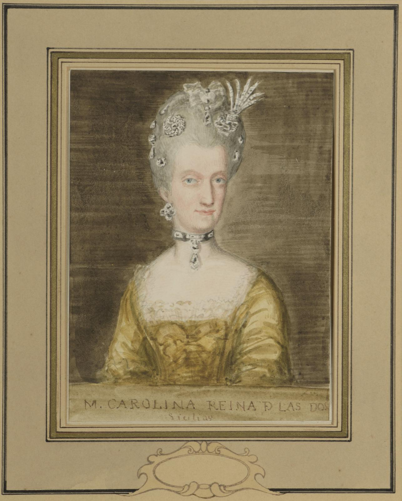 €780Valentín Carderera y Solano (1796–1880), Portrait of Queen Marie-Caroline of Bourbon of the Two Sicilies wearing a choker, watercolor,