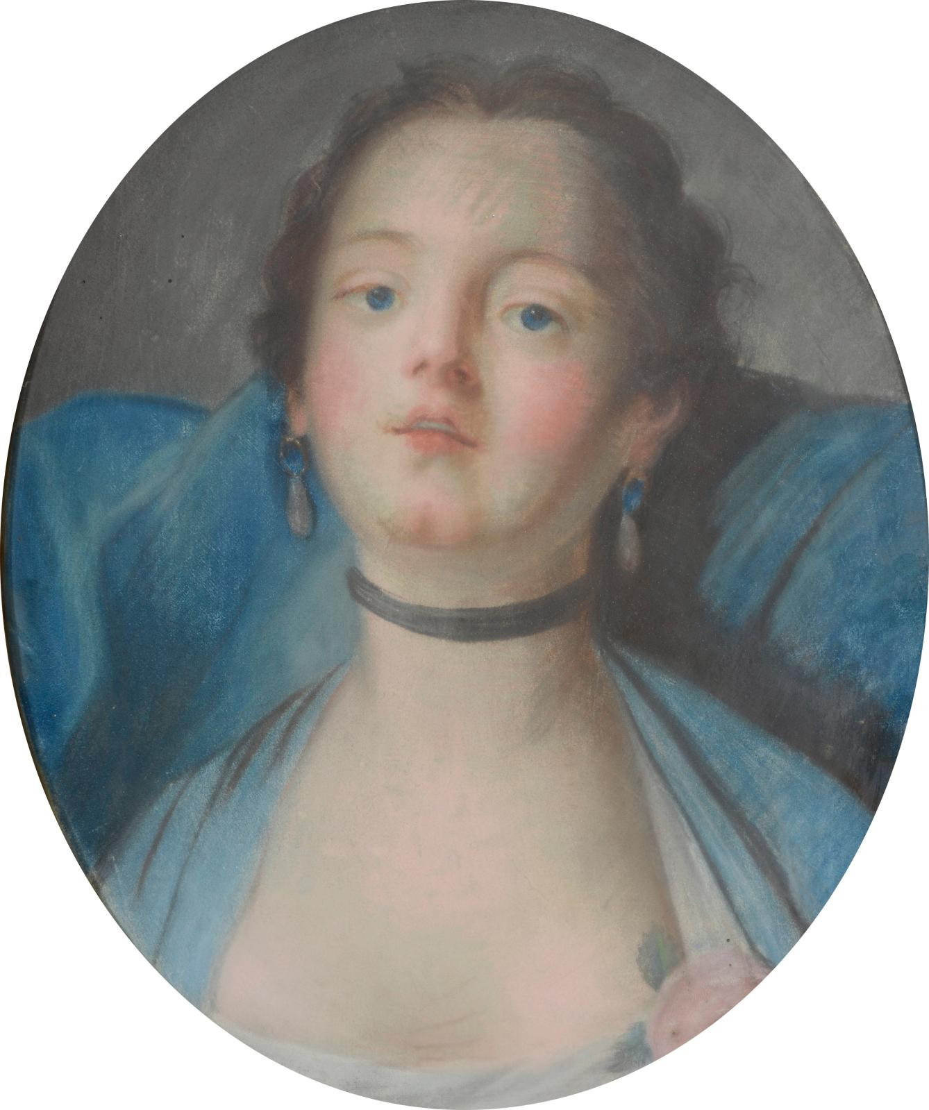 €148.8019th century French school, Portrait of a young woman in a choker with oval pastel, 41 x 34 cm (16.1 x 13.4 in).Drouot, July 11, 20