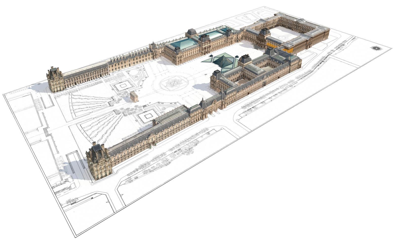 Sur la Cour carrée, où fut édifié le premier palais de la Renaissance, à partir du pavillon de l'Horloge, colorisées en orange, la salle d