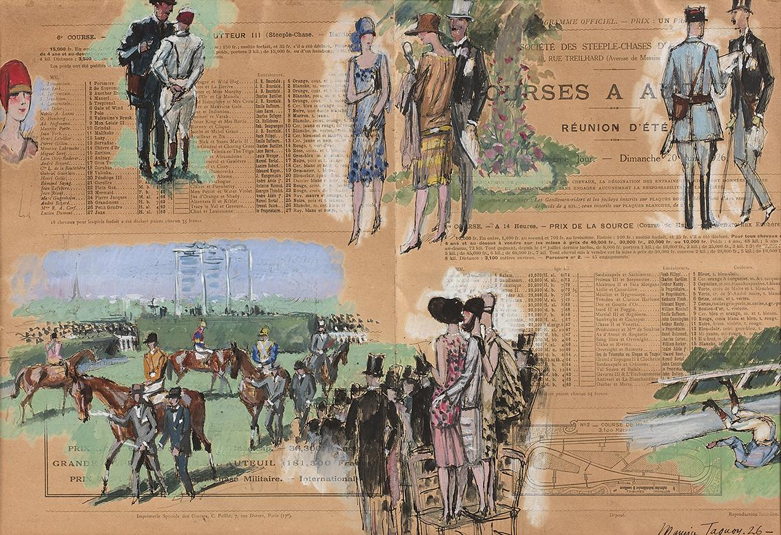 Cette œuvre exécutée sur deux pages de programme (28x42cm) fait partie d'un ensemble de quatorze gouaches réalisées par Maurice Taquoy