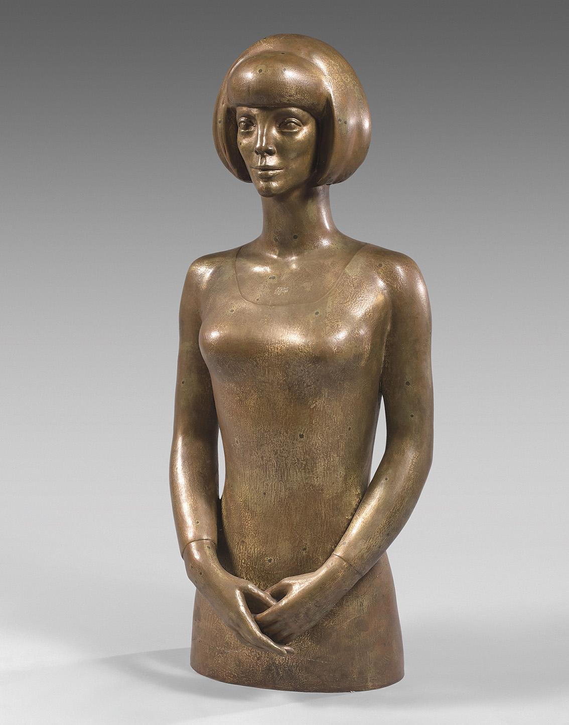 C'est entre 2000 et 3000€ qu'est estimé ce buste de Sylvia Wildenstein en bronze doré (cire perdue, fonte C. Valsuani, h.101cm) par P
