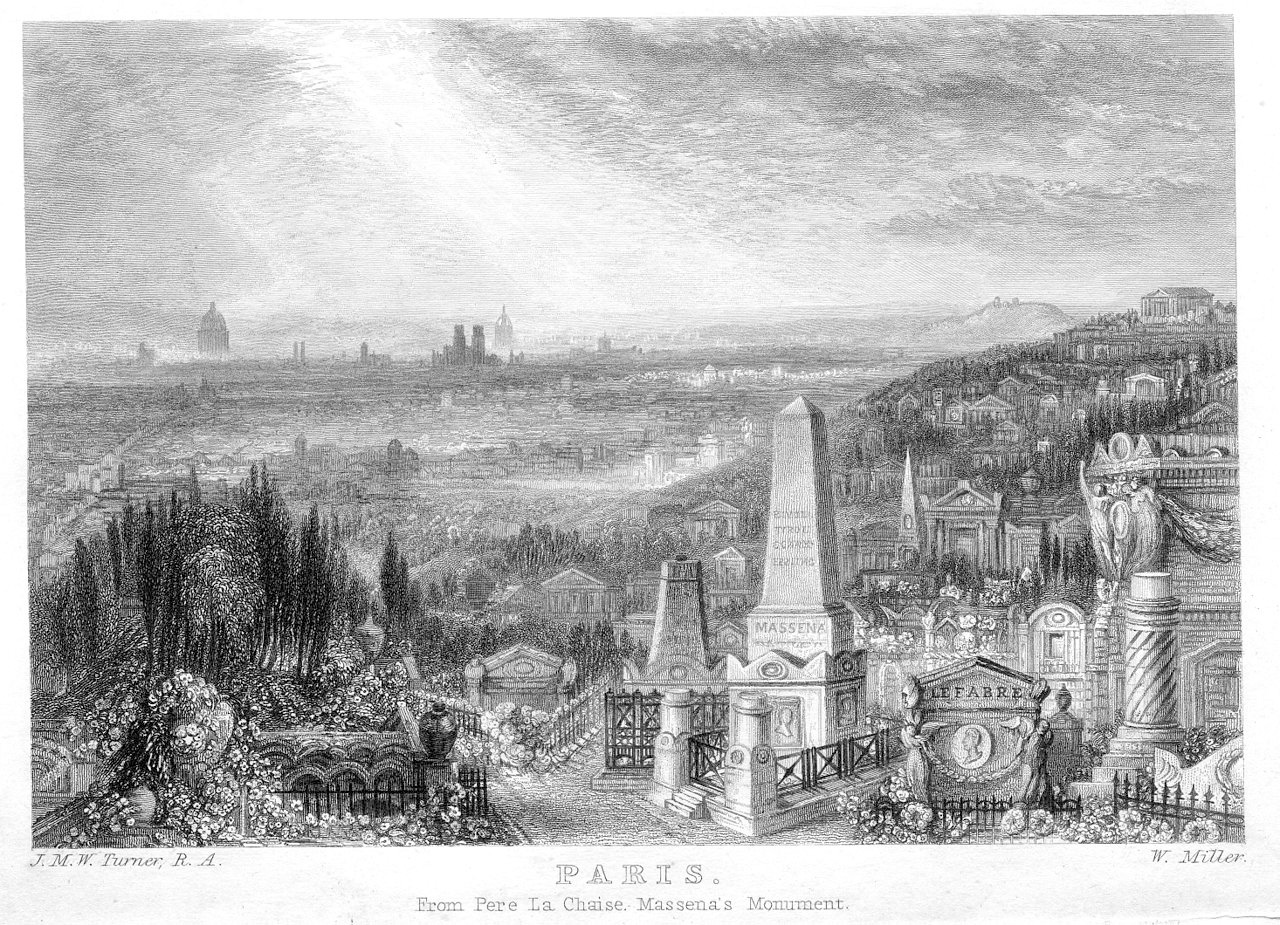Paris from Père Lachaise, Massena's Monument, engraving by William Miller after J.M.W. Turner, published in The Miscellaneous Prose Works