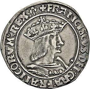 915€Lyon, FrançoisIer (r.1515-1547). Teston du 13etype en argent, buste cuirassé à droite du roi, couronne fermée, écu de France couro