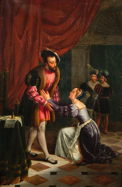 766€ École française troubadour, première moitié du XIXesiècle. FrançoisIer accordant à Diane de Poitiers la grâce de son père, huile s