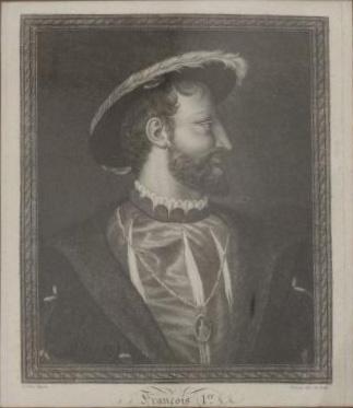360€D'après Titien, XVIIIesiècle. FrançoisIer, gravure en noir, cachet de la vente du Comte de Paris à Drouot en 2000, 26x21,5cm à v