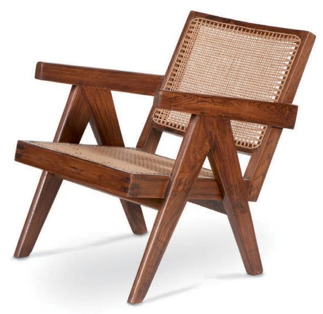 3142,5€ Pierre Jeanneret (1896-1967), fauteuil Easy bas, vers 1955, teck, moelle de rotin, 75x50x65cm. Marseille, 30septembre 2013