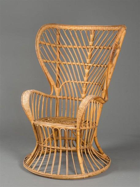 861€ Gio Ponti (1891-1979) &Lio Carminati, fauteuil réalisé pour le paquebot Conte Biancamano, rotin, 119x78x73cm, édition Vittorio